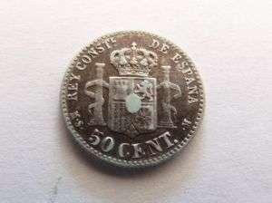 MONEDA ALFONSO XII 1880 50 CENTIMOS PLATA Silver Coin