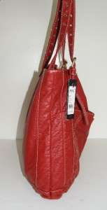 NEW RED BY MARC ECKO RED PVC PEBBLE FAUX LEATHER LARGE SHOPPER TOTE