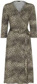 nologo leopard print jersey wrap dress by nologo chic