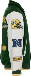 Green Bay Packers Full Zip Commemorative Wool Varsity Jacket