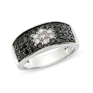 98ct Black and White Diamond 14K White Gold Ring