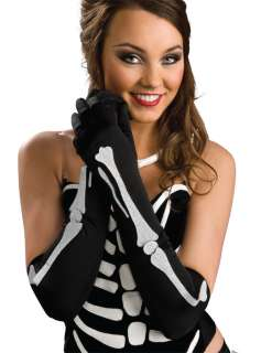 Black and White Bone Gloves   Sexy Day of the Dead Accessories