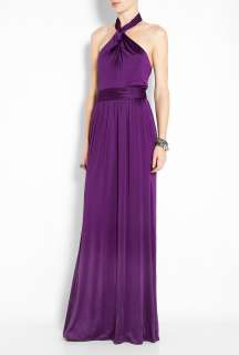 Halston Heritage  Purple Halter Neck Twist Maxi Dress by Halston