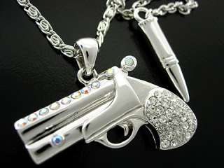 Twinkling Gun & Bullet Use Swarovski Crystal 18K White Gold Plated