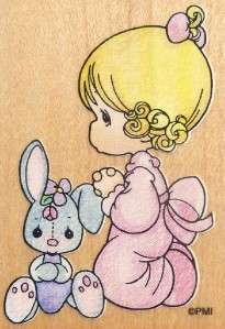 PRECIOUS MOMENTS Rubber Stamp GIRL PRAYING Stampendous UH001 NEW Bunny