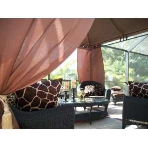 Outdoor Gazebo Patio Drapes Kenya Brown Solid 108
