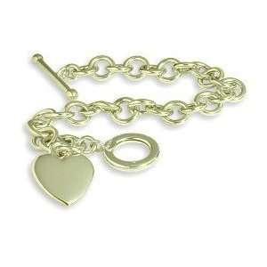 Ladies Heart Tag Designer 14 karat Yellow Gold Bracelet Jewelry