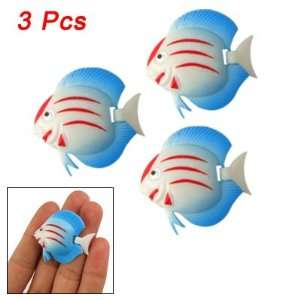 3Pcs Blue Hard Plastic Tropical Fish Decor for Aquarium