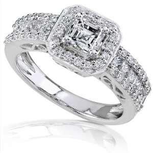 Carat 14k White Gold Asscher Cut Diamond Engagement Ring   Size 8