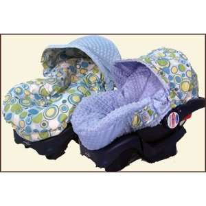 Reversible Infant Car Seat Cover   Bubble Dot Blue and Minky   Cuter