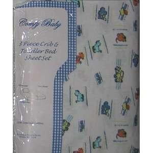 Jungle Safari Theme on White Baby & Toddler Bed Sheet Set Baby