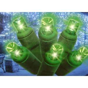 Set Of 30 Green LED Mini Christmas Lights With Green Wire