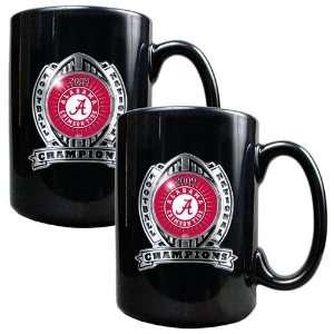 BCS   Alabama Crimson Tide 2pc 15oz Black Ceramic Mug Set