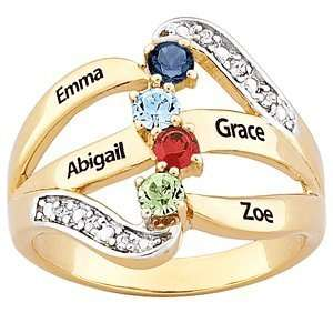 Mothers Two Tone Name & Birthstone Diamond Ring Jewelry