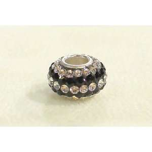 Black & White Stripe Swarovski Crystal Sterling Silver European Bead