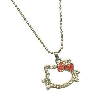 Petite Kitty Charm Necklace with Red Bow Jewelry