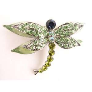 Green Austrian Crystal Rhinestone Dragonfly Fashion Jewelry Pin Brooch