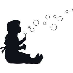 Girl Blowing Bubbles wall decal removable sticker