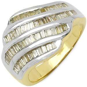 06 Carat 14K Gold Plated Genuine Diamond Accents Sterling Silver Ring