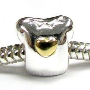 Girl T Shirt Heart Love Bead for Pandora European Charm Bracelets