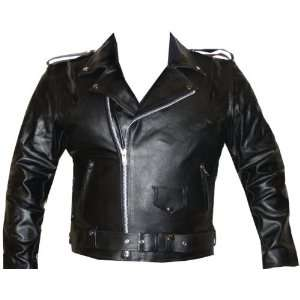 MENS CLASSIC LEATHER JACKET MOTORCYCLE CHOPPER BIKE S: Automotive