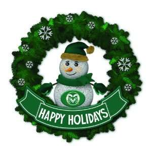 State Rams Lighted Snowman Artificial Christmas Wreath