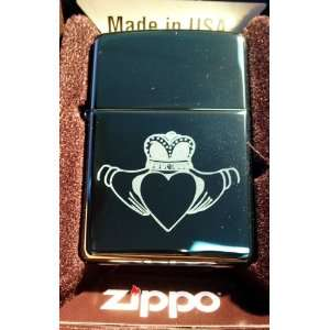 Zippo Custom Lighter   Irish Claddagh Ring Open Heart Love