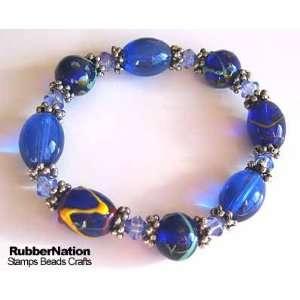Glass & Bali Style Beads Bracelet Blue Arts, Crafts & Sewing