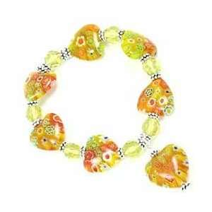 Murano HEARTS Glass Flowers YELLOW Bracelet Arts, Crafts & Sewing