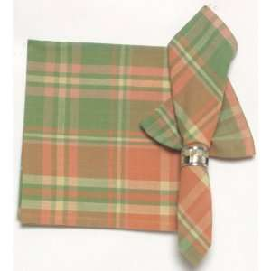 Durable Hand Woven 100% Cotton Peach and Green Plaid Napkins