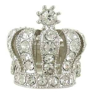 Tone Tiara Crown Cocktail Ring Stretch Band fits sizes 6 12 Jewelry