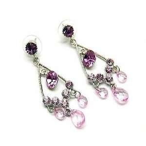 Dark Rose Crystal and Pink Beaded Drop Earrings Jewelry