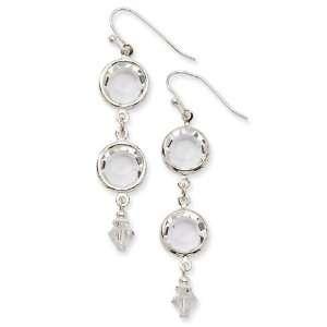 Silver tone Crystal Bezel Drop Earrings/Mixed Metal Jewelry