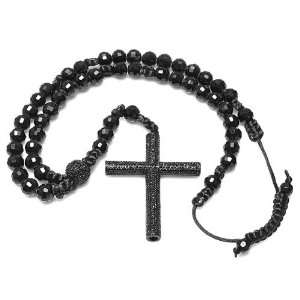 Mens Hip Hop Style Black Cross Cubic Zirconia Faceted Crystal