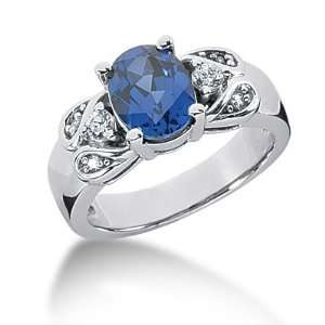 2.4 Ct Diamond Sapphire Ring Engagement Oval cut 14k White