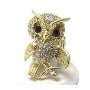 Owl Stretch Ring Gold Tone Sparkle Harry Potter Cute