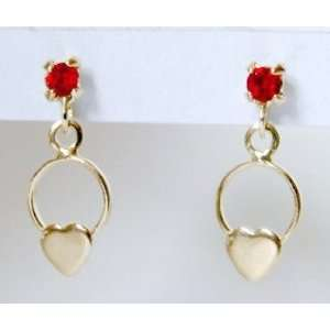 SKILLUS 18k GOLD HEART & CIRCLE STUD EARRINGS w/ RED CZ, AGES 3 TO 10
