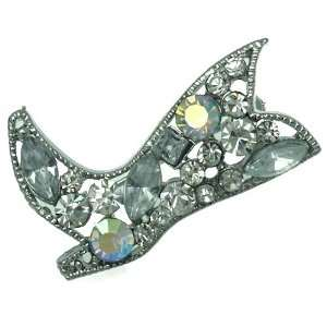 Krisanna Silver Aurora Borealis Crystal Boot Brooch Jewelry