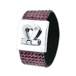 Silver Tone Heart Amethyst Color Disco Strap Bracelet Jewelry