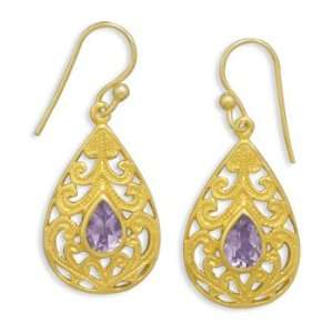 14 Karat Gold Plated Sterling Filigree Tear Drop French Wire Earrings