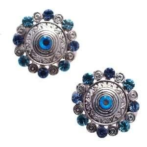 Gweniera Silver Blue Crystal Clip On Earrings Jewelry