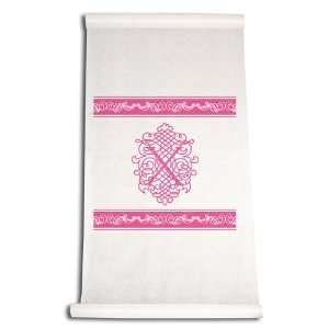 Feet by 36 Inch Aisle Runner, Fancy Font Letter X, White with Hot Pink