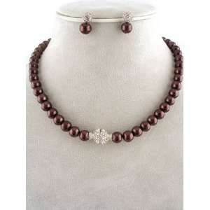 Fashion Jewelry ~ Brown Glass Pearls Necklace and Earrings Set
