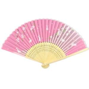 Fabric   Perforated Light Wood Hand Held Folding Fan Home & Kitchen