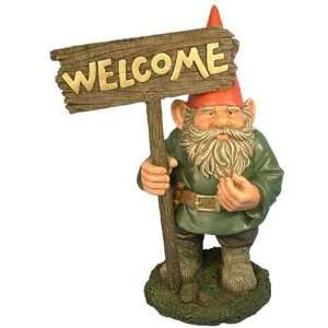 Woodland Garden Gnome   Paul with Welcome Sign Patio, Lawn & Garden