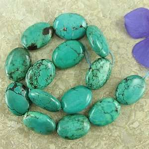 30mm green turquoise flat oval beads 16 gemstone