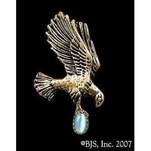 Yellow Gold, Light Blue set gemstone, Eagle Animal Jewelry, 14 k gold