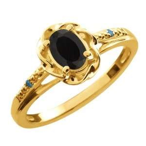 40 Ct Oval Black Onyx Blue Diamond 18K Yellow Gold Ring Jewelry