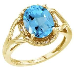 Gold December Birthstone 10x8 Oval Blue Topaz and Diamond Rope Ring