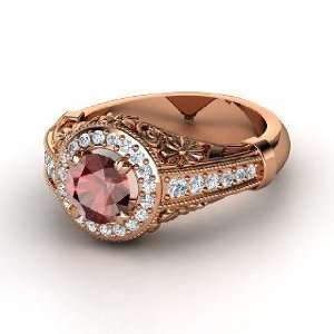 Primrose Ring, Round Red Garnet 14K Rose Gold Ring with
